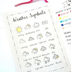 Weather symbols for bullet journal - Doodles climáticos. Journal Layout, My Journal, Journal Pages, Daily Journal, Planner Bullet Journal, Bullet Journal Inspo, Bullet Journal Cursive, Bullet Journal Key Page, Back To School Bullet Journal
