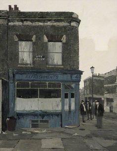 """Tea Break, Lots Road, Fulham, London"" - Brian  Hagger (1935-2006)"
