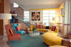 Wohnzimmer gestalten - Living room design ideas in retro style - 30 examples as inspiration