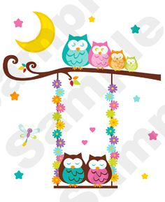 "OWL TREE SWING WALL MURAL DECALS BABY GIRL NURSERY KIDS ROOM STICKERS DECOR measures 30.75"" Tall and 24.75"" Wide. #decampstudios"