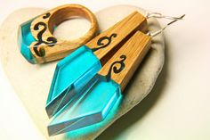 Wooden ring+earring SET 150$