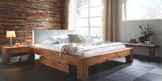 Hasena Oak-Line Wild solid wood bed Bormio Cobo / Duna Artikelbild 3 Contemporary Bedroom Furniture, Modern Bedroom, Modern Wooden Bed, Rustic Wooden Bed, Modern Beds, Solid Oak Beds, Solid Wood, Leather Headboard, Wood Beds