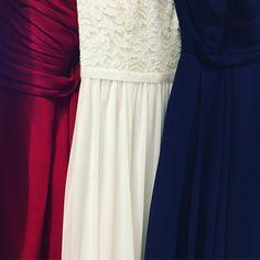 Red, white and blue wedding hues Ceremony Dresses, Bridesmaid Dresses, Wedding Dresses, Event Styling, Davids Bridal, Romance, Blue Wedding, Wedding Inspiration, Wedding Ideas