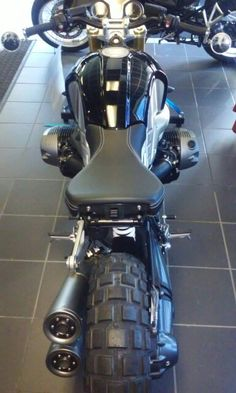 2015 BMW R-Nine T, with Rizoma cafe' bars, mirrors and knobby tires.