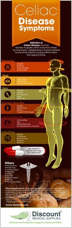 """To answer the question """"what are the celiac disease symptoms?"""" or any doubt you might have on whether or not what you have been feeling means that you could be suffering from celiac disease, we illustrated a list of all conditions that... See more at: http://www.discountmedicalsupplies.com/doctors/health-news/what-are-celiac-disease-symptoms"""