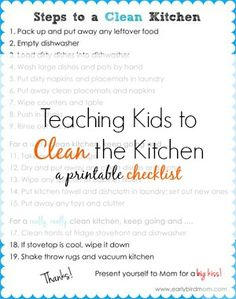 "Do your kids know how to clean up the kitchen? If not, you're missing out on a HUGE source of help! This is a life skill every kid needs to learn and the earlier you start, the better. This printable chart breaks up the task into levels of clean, allowing you to ask for ""clean"", ""really clean"" and ""super clean"" depending on how much time your helper has to spend. Empower your kids with a checklist they can follow - no nagging from mom required!"