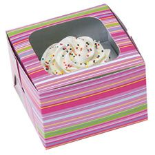 Cupcake Box for 1 cake with Snappy Stripe design.  Perfect for presenting individual cakes as a gifts.  Package includes 3 boxes to hold 1 cake.  Box size - 11cm x 11cm x 7.5cm high.  Flat packed with easy assembly.