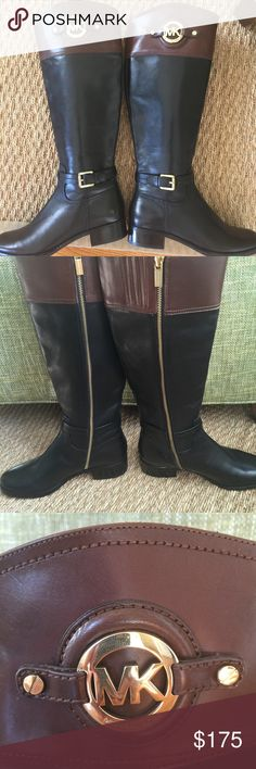 NEW Michael Kors Riding Boots Authentic! Beautiful pair of brand-new Michael Kirs black and brown riding boots. These have never been worn and still have tags on them! Purchased from Dillards last season. Absolutely gorgeous! This is a still, original price was $325! Size 5.5 Michael Kors Shoes Winter & Rain Boots