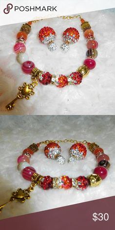Hot Orange Cherry Bomb Bracelet Set Red orange shamballa beads, red agate beads, cat's eye beads, crystal spacers, key and barrel charms. Matching earrings. 18 - 25 cm with extender Jewelry Bracelets