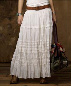 Denim & Supply Ralph Lauren Skirt, Ruffled A-Line Cotton Maxi.