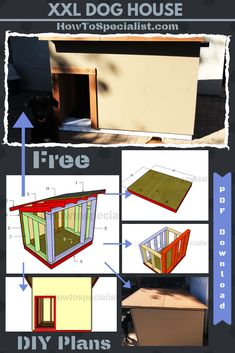 This step by step woodworking project is about extra large dog house plans free. If you have a large dog and you want to build an appropriate outdoor shelter for it, then you should check out my free plans. Large Dog House Plans, Extra Large Dog House, Build A Dog House, Dog House Blueprints, Wooden Dog House, Outdoor Shelters, Free Dogs, Dog Houses, Wooden Diy