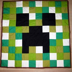Inspiration for a crochet grany square Minecraft Creeper Quilt
