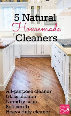 Do you want to avoid chemicals in your home and save money on cleaning products? These natural homemade cleaning recipes are simple to make and cost just pennies per batch.
