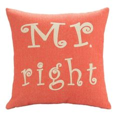 """Amazon.com - MagicPieces Cotton and Flax Mr and Mrs Right Decorative Pillow Covers Cases Pair Orange 18"""" x 18"""" Square Shape-mr right-couple-..."""