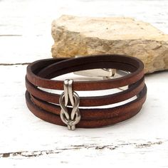 Antique brown leather bracelet with Sterling silver by Jullyet, $32.00