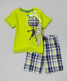Green 'Basketball' Tee & Plaid Shorts - Toddler & Boys