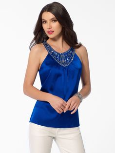 LUXE DATE TOPS   Blue Bejeweled Top   Caché