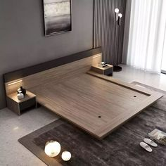 Foyer Design, Wood Bed Design, Bed Frame Design, Bedroom Furniture Design, Modern Bedroom Design, Master Bedroom Design, Cama Tatami, Wooden Bed Frame Diy, Living Room Wall Designs