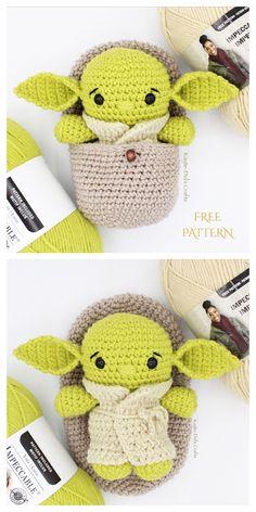 Baby Yoda and Space Pod Amigurumi Crochet Patterns – Knitting patterns, knitting designs, knitting for beginners. Star Wars Crochet, Crochet Stars, Cute Crochet, Crochet Crafts, Crochet Baby, Crochet Projects, Knit Crochet, Diy Crochet Toys, Doilies Crochet