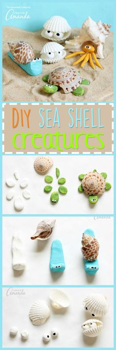 These sea shell creatures are the perfect beach craft to tackle after collecting. - These sea shell creatures are the perfect beach craft to tackle after collecting shells from your l - Sea Crafts, Nature Crafts, Baby Crafts, Seashell Crafts Kids, Diy For Kids, Crafts For Kids, Arts And Crafts, Summer Diy, Summer Crafts