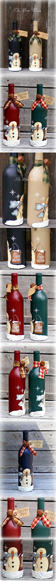 Primitive Snowman Wine Bottle ~ Snowman Decor ~ Christmas Decor ~ Winter Decor ~ Snowmen ~ Christmas Gift ~ Painted Wine Bottle