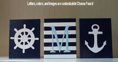 Nautical Nursery Decor Painting Sailboat Anchor Personalized Nursery Letters Baby Name Navy Light Blue WhiteNautical Painting
