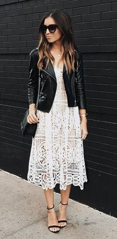 amazing outfit: jacket + heels + lacer dress