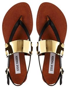 Steve Madden Cuff Toe Post Black Flat Sandals