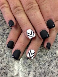 Black is beautiful in this eye catching and definitely one of a kind French manicure. the nails use a matte black and white base then lined with a glossy black polish as French tips over the black matte base. On the other hand thin black v-lines are lined over the white matte base.