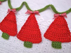 Crochet Christmas tree bunting - red - green- handmade - unique - funky - gingham bow - decor .
