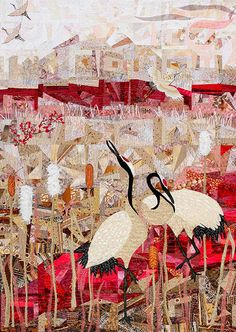 "Cranes II, 34 x 48"" , by Anne Standish ~ The piecing of this quilt is insane & breath taking!"