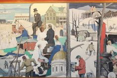 """Artist Paul Sample's  section of the """"Tribute To Vermont"""" mural, which depicts 300 years of the state's history. The painting is moving from the headquarters of National Life Insurance Group, which commissioned the work, to the Vermont History Museum."""