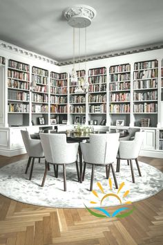 Dining Room Decor ideas for decorating living room dining room combo Home Library Rooms, Home Library Design, Home Libraries, Room Interior Design, Dining Room Design, House Design, Dining Living Room Combo, Dining Room Office, Modern Interior