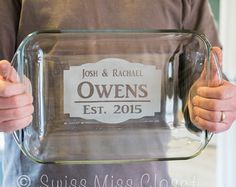 Personalized inch 3 Quart Glass Baking Dish Custom Engraved MADE in the USA - Casseroles&Bakers Glass Engraving, Custom Engraving, Engraving Ideas, Wood Engraving, Trotec Laser, Shilouette Cameo, Laser Cutter Projects, Laser Cutter Ideas, Glass Baking Dish