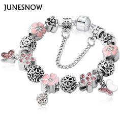 b44ae6a9b Luxury Brand Women Bracelet Unique Silver Crystal Charm Brand Bracelet for  Women Brand pandora Bracelets & Bangles Jewelry Gift