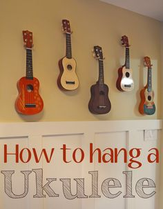 "How to Hang a Ukulele - wrap1/16"" Jute Rope around a 1/4"" x 3 1/2"" Screw-In Tool Hook ($1) from Home Depot"