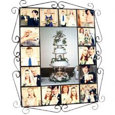 Black Wrought Iron Frame with mirror creating an outstanding collage of images on ceramic tiles - $195.00