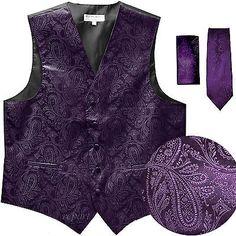 New Men's Formal Vest Tuxedo Waistcoat_necktie set paisley wedding dark purple Mens Formal Vest, Men Formal, Paisley Wedding, Purple Wedding, Gilet Costume, Purple Vests, Formal Tuxedo, Tailored Fashion, Tuxedo Vest