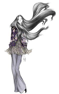 ZARA / Fashion Illustration by Laura Laine Fashion Images, Fashion Art, Fashion Design, Zara Fashion, Beautiful Sketches, Moda Chic, Illustration Sketches, Illustration Fashion, Watercolor Illustration
