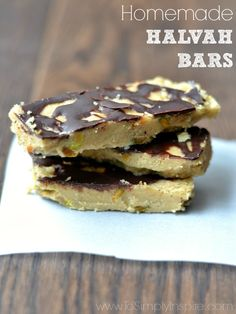 These Homemade Halvah Bars (aka Tahini Candy) are a delicious, nutritious, all-natural, no-bake treat.