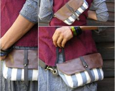 Hip Bag Fanny Pack Leather and Canvas Traveler Bag