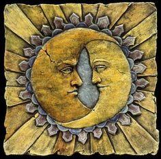 Art Nouveau Tiles, Moon Painting, House Tiles, Clay Tiles, Handmade Tiles, Style Tile, Decorative Tile, Moon Art, Tile Art