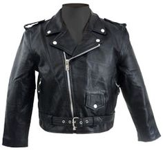 snap-down kids leather jacket