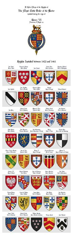KING HENRY VI - Roll of arms of the Knights of the Garter installed during his reign Art Print