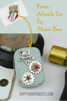 Recycle an Altoids Tin into a music box ~ personalize the music for the event or receiver ~ such an awesome gift idea