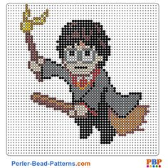 Harry Potter perler bead pattern. Download a great collection of free PDF templates for your perler beads at perler-bead-patterns.com