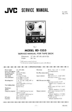 JVC RD-1555 reel to reel tape recorder Service Manual 100 per cent satisfaction guaranteed  100 DOWNLOAD