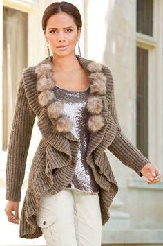 Brown Beige Boston Proper Faux fur Balls Ruffle cardigan Sweater $40 For Mom
