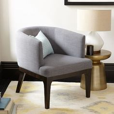 Oliver Chair #westelm.   Would love for you to have 2 of chairs in the master bedroom in a printed fabric called cross weave in the grey.