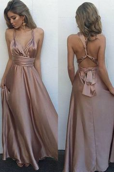 Sexy Blush V-Neck Sleeveless Prom Dresses,Floor Length Prom Dress with Pleats,Formal Evening Dress with Crisscross Back